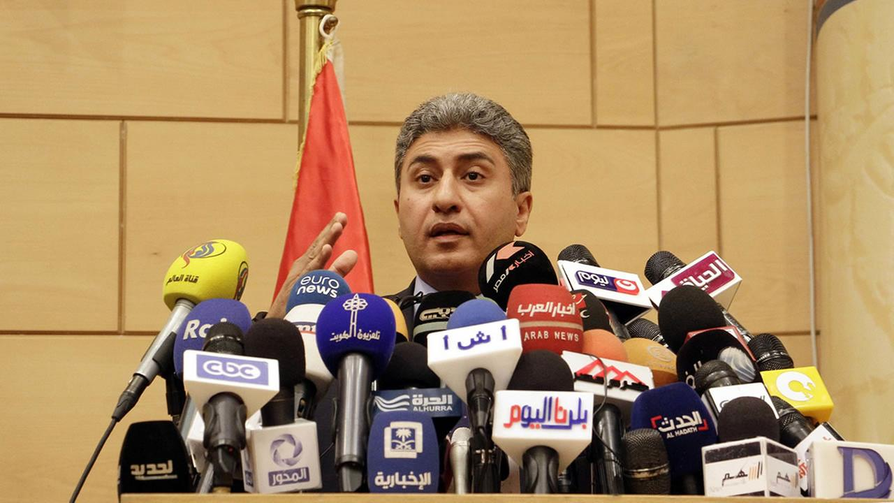 Egyptian Civil Aviation Minister Sherif Fathi speaks at a press conference about the crash of an EgyptAir flight from Paris to Cairo, in Cairo, Egypt, Thursday, May 19, 2016.