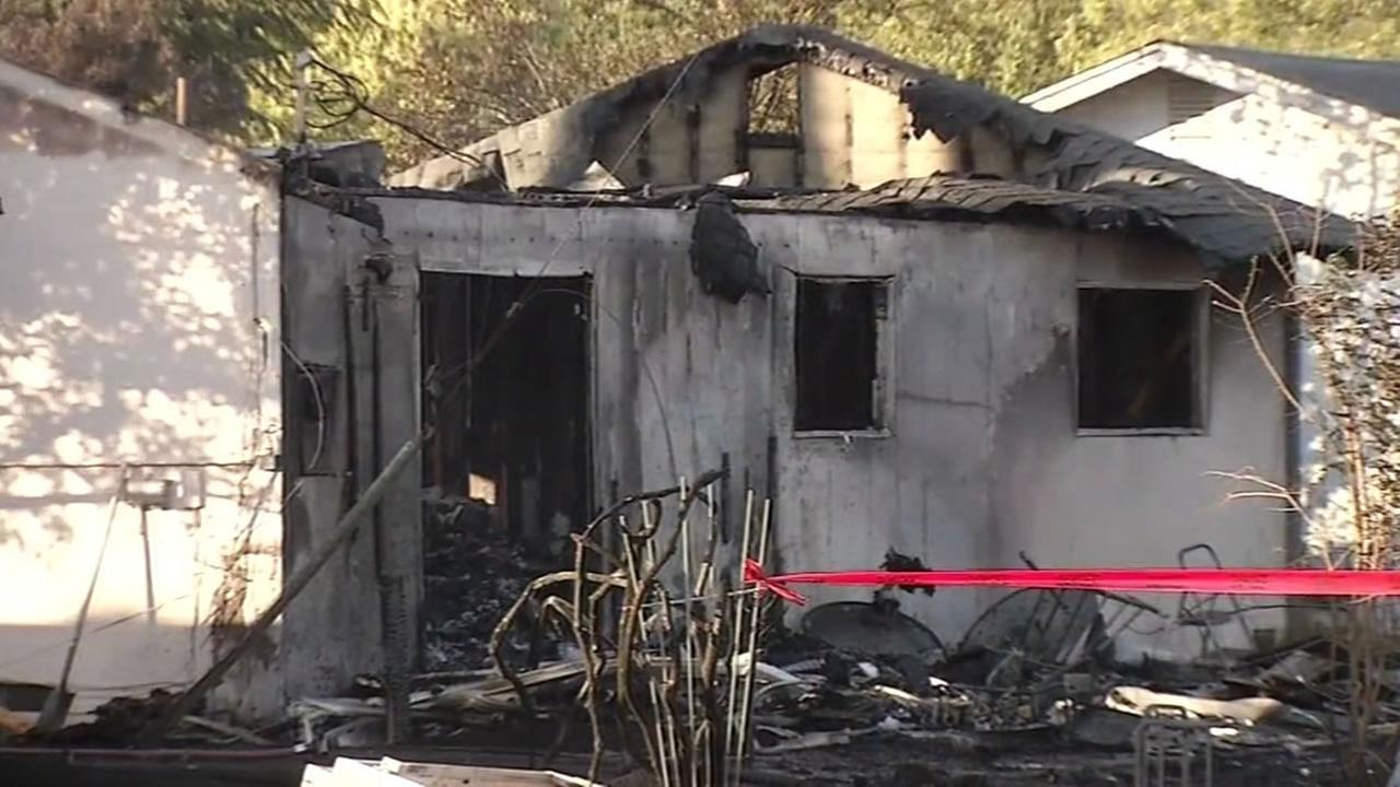 This image shows one of two homes that were burned following a 4-alarm fire in Fairfield, Calif. on May 20, 2016.