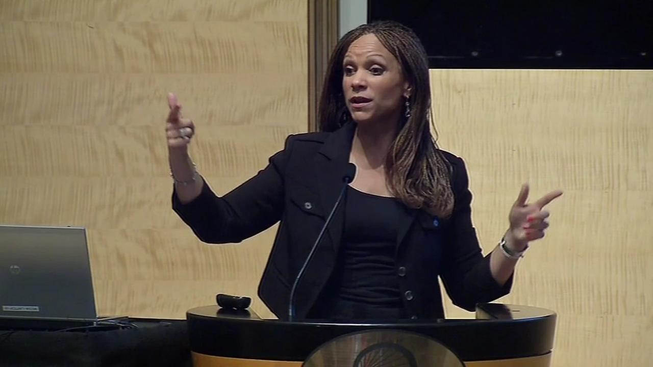 Author Melissa Harris Perry is seen speaking at the San Francisco Public Defenders Justice Summit on Wednesday, May 25, 2016.