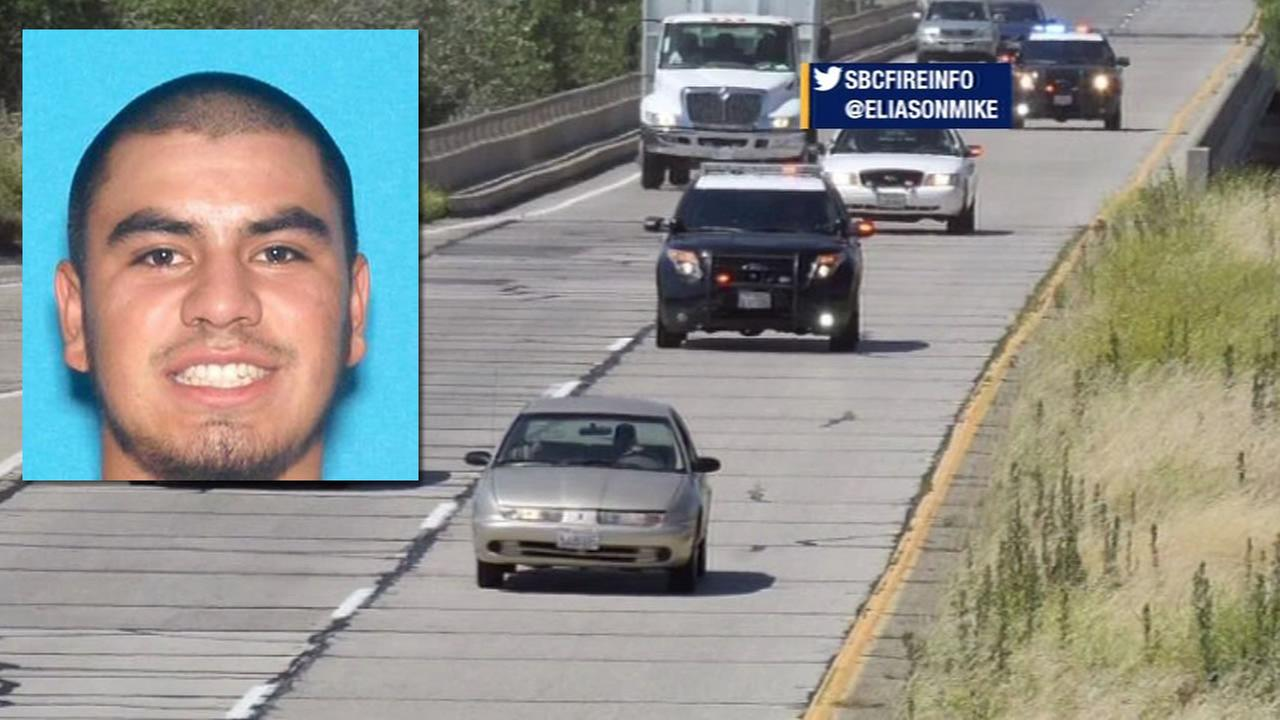 This image shows Fernando Castro, the man suspected of kidnapping Pearl Pinson, and the car that belongs to him that was spotted in Santa Barbara County, Calif. May 26, 2016.