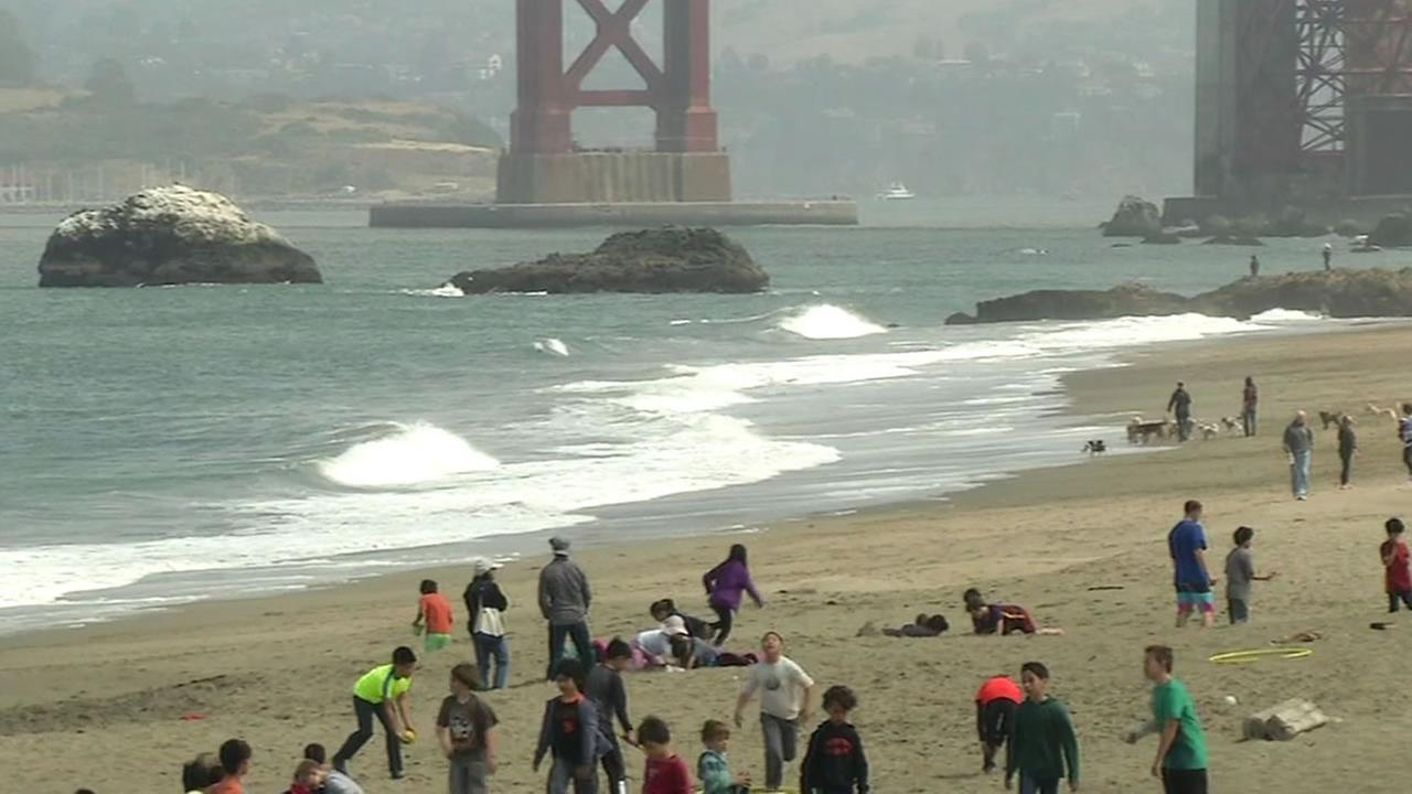 This image shows Baker Beach in San Francisco.