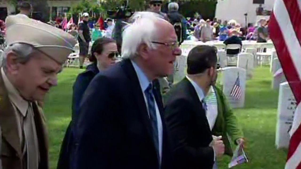 Bernie Sanders makes surprise appearance at Presidio in San Francisco, Monday, May 30, 2016
