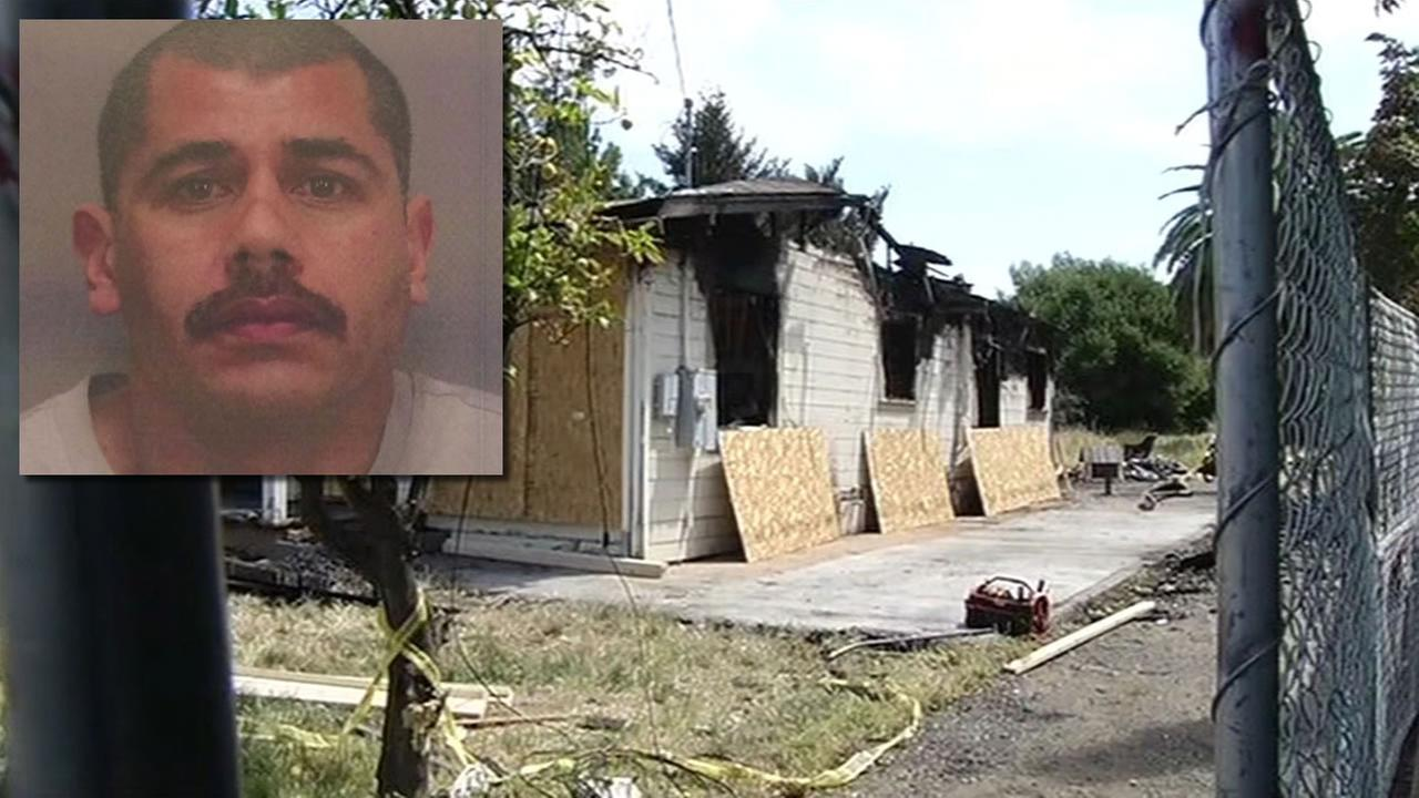 This image shows Gerald Villabrille, the suspect in an officer-involved shooting, and the house he perished in following a police standoff in Fremont, Calif. on June 1, 2016.