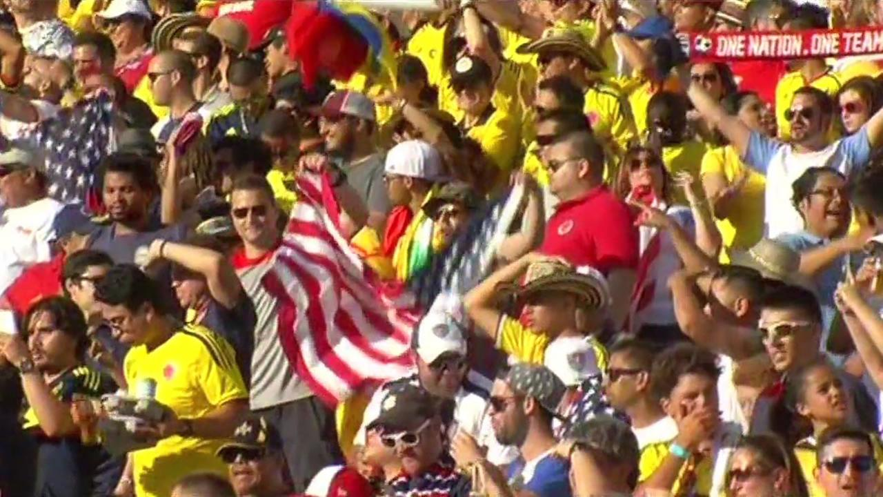 This image shows soccer fans cheering at the kick off of the Copa America opener at Levis Stadium in Santa Clara, Calif. on June 3, 2016.