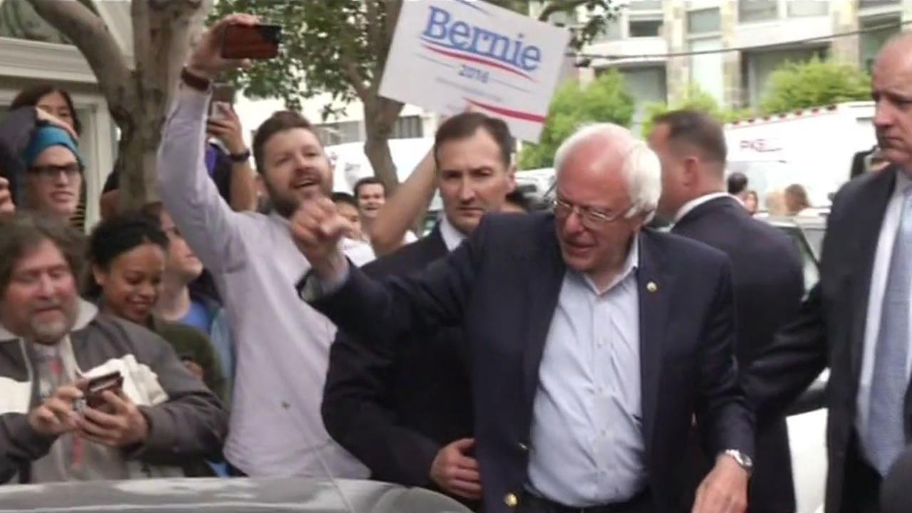 This image shows Bernie Sanders in San Francisco on June 7, 2016.