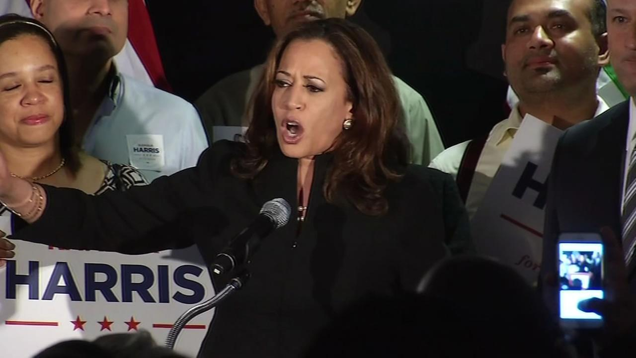 This image shows U.S. Senate candidate Kamala Harris at her victory party in San Francisco on June 7, 2016.