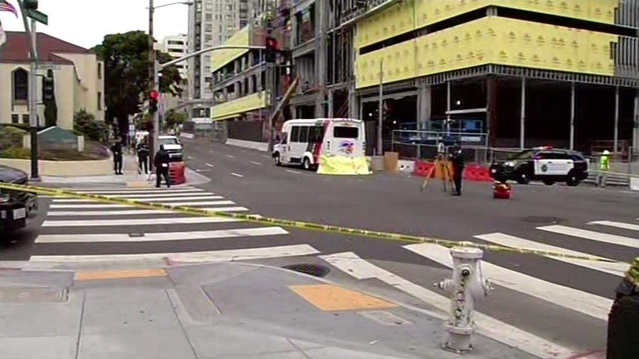 This image shows the scene of a fatal pedestrian crash in San Francisco on June 9, 2016.