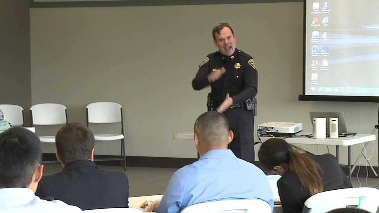 This image shows CIT training for police officers in the San Francisco Police Department.