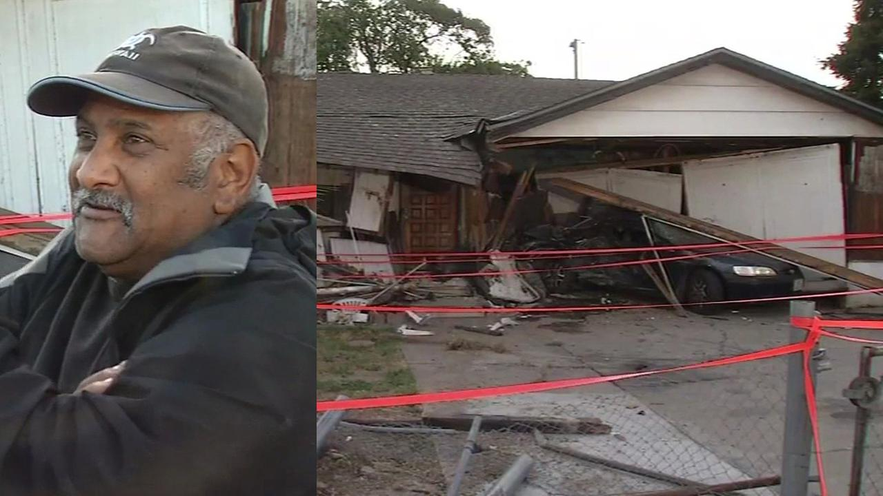 Ray Minter says cars have crashed into his home 19 times, San Jose, California, June 14, 2016.