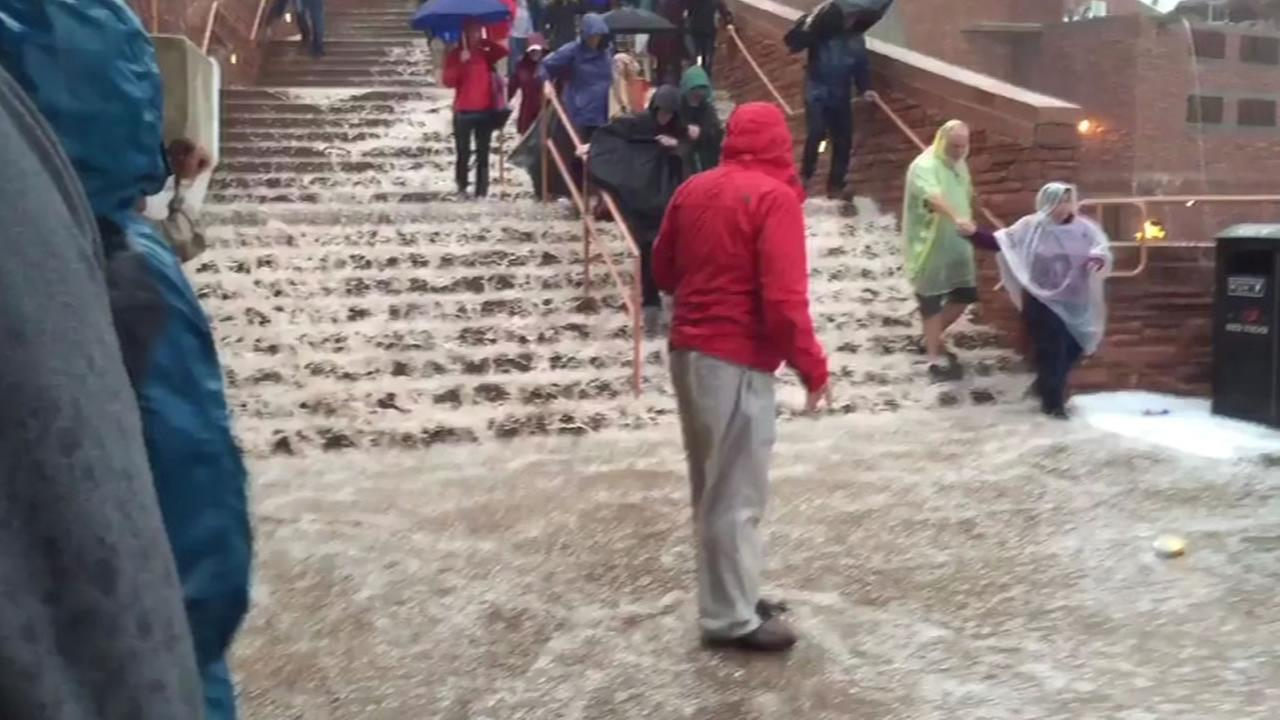 This image shows flooding at the Red Rocks Amphitheater in Morrison, Colo.