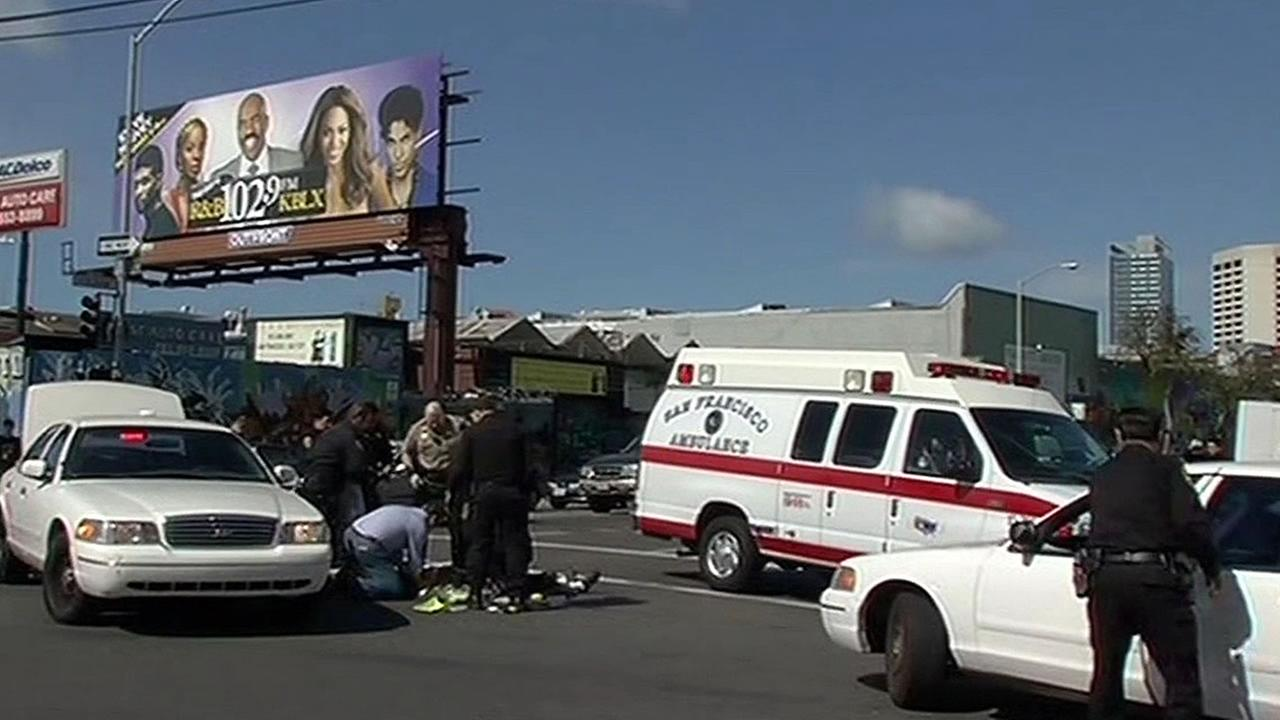 An ambulance is seen responding to a crash in San Francisco, Calif. in this undated image.