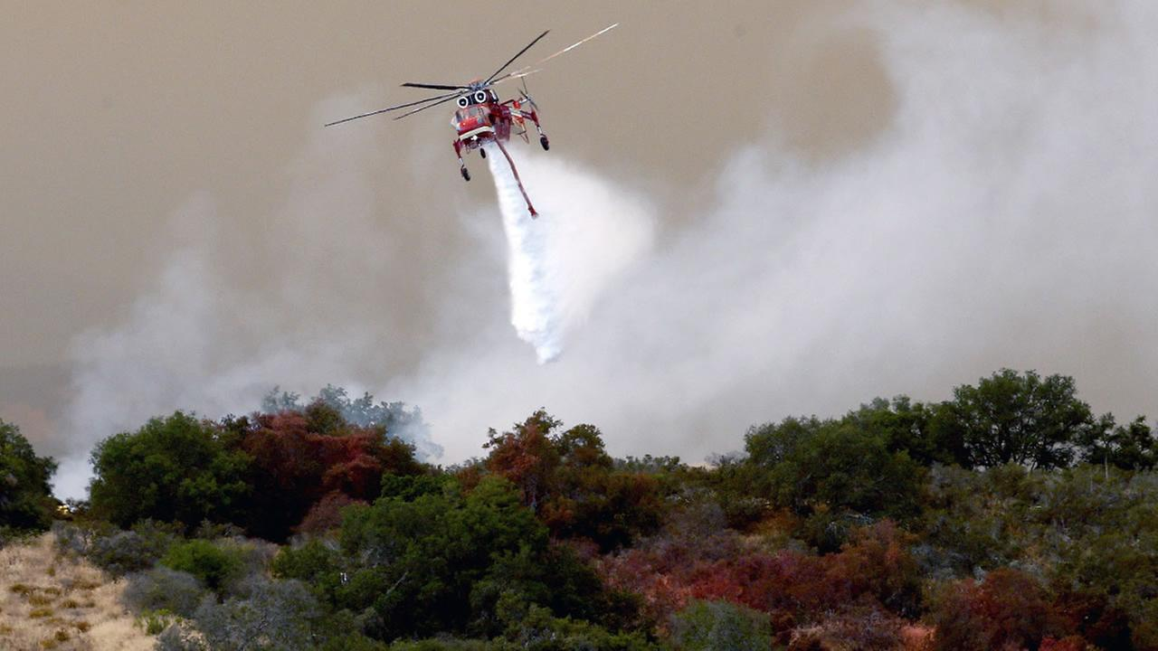 Helicopter drop of the Sherpa Fire in Santa Barbara County, Calif., Friday, June 17, 2016.