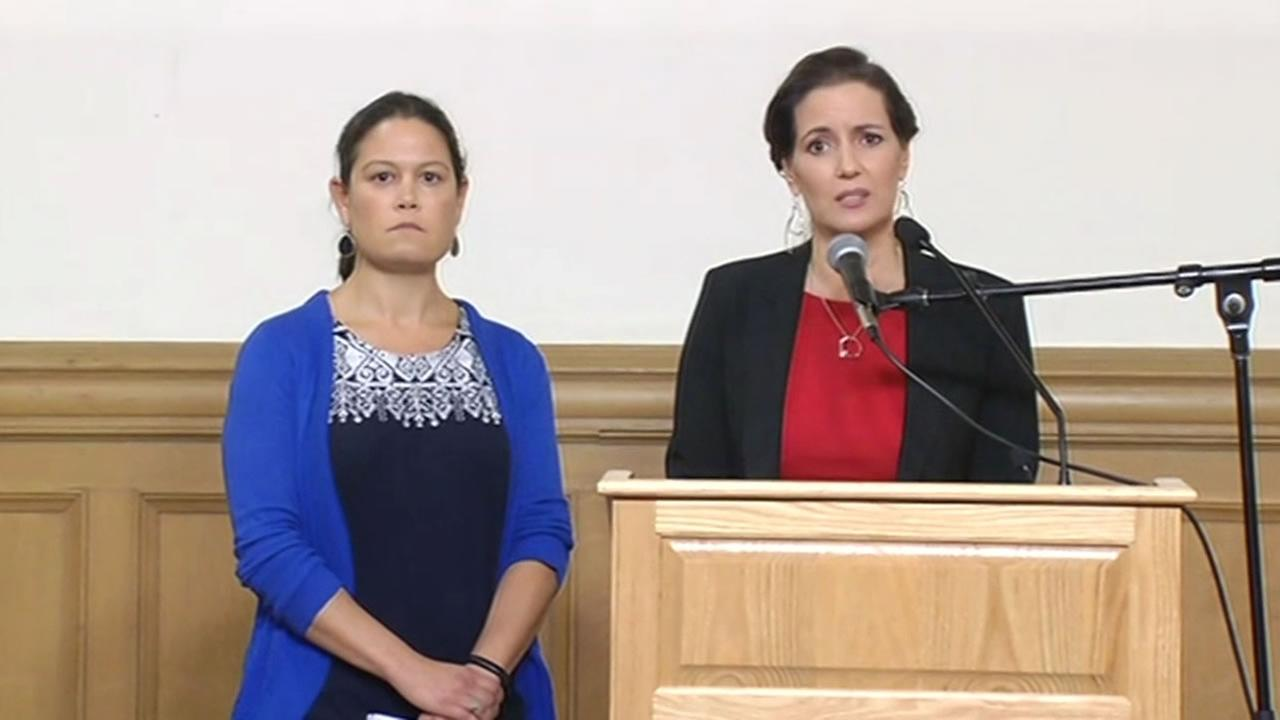 This image shows (from left to right) Oakland city administrator Sabrina Landreth and Oakland Mayor Libby Schaaf during a news conference at Oakland City Hall June 17, 2016.
