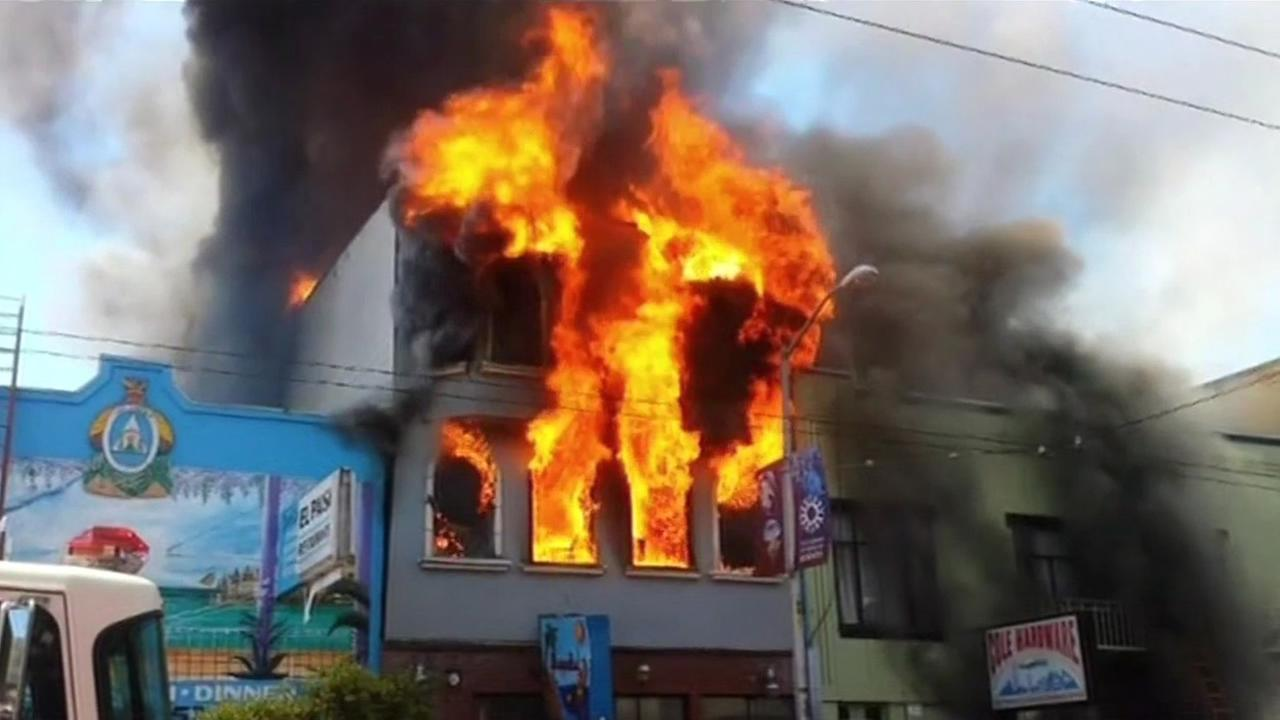 A fire burns at Coles Hardware in San Franciscos Mission District on Saturday, June 18, 2016.