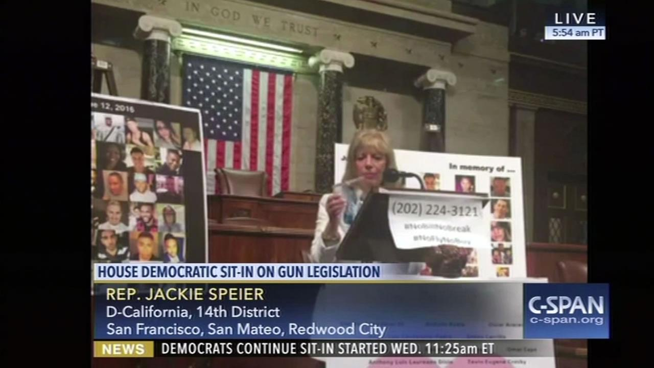 This image shows Congresswoman Jackie Speier on a livestream during the Democratic sit-in of the House floor on June 22, 2016.