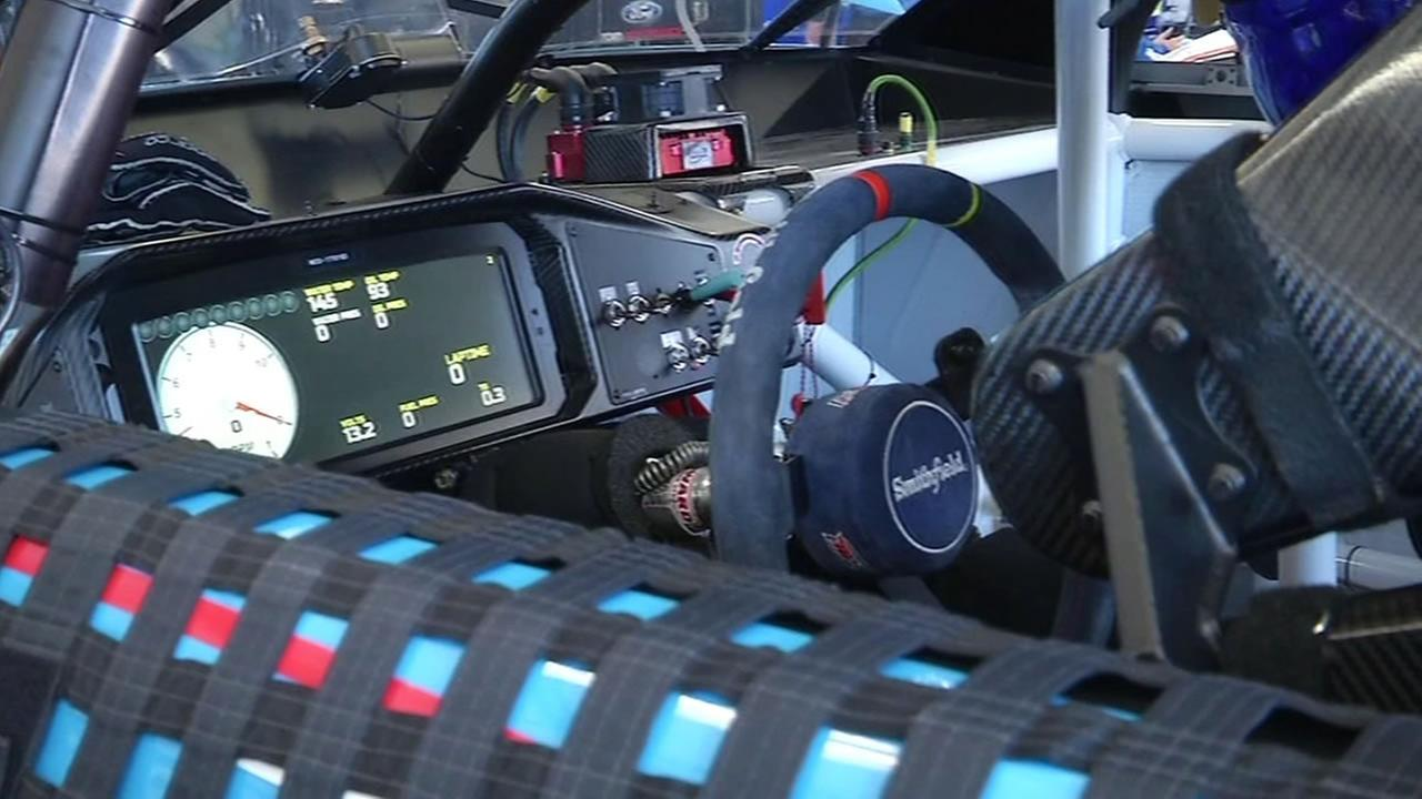 This image shows the inside of a NASCAR race car at the Sonoma Raceway on June 24, 2016.