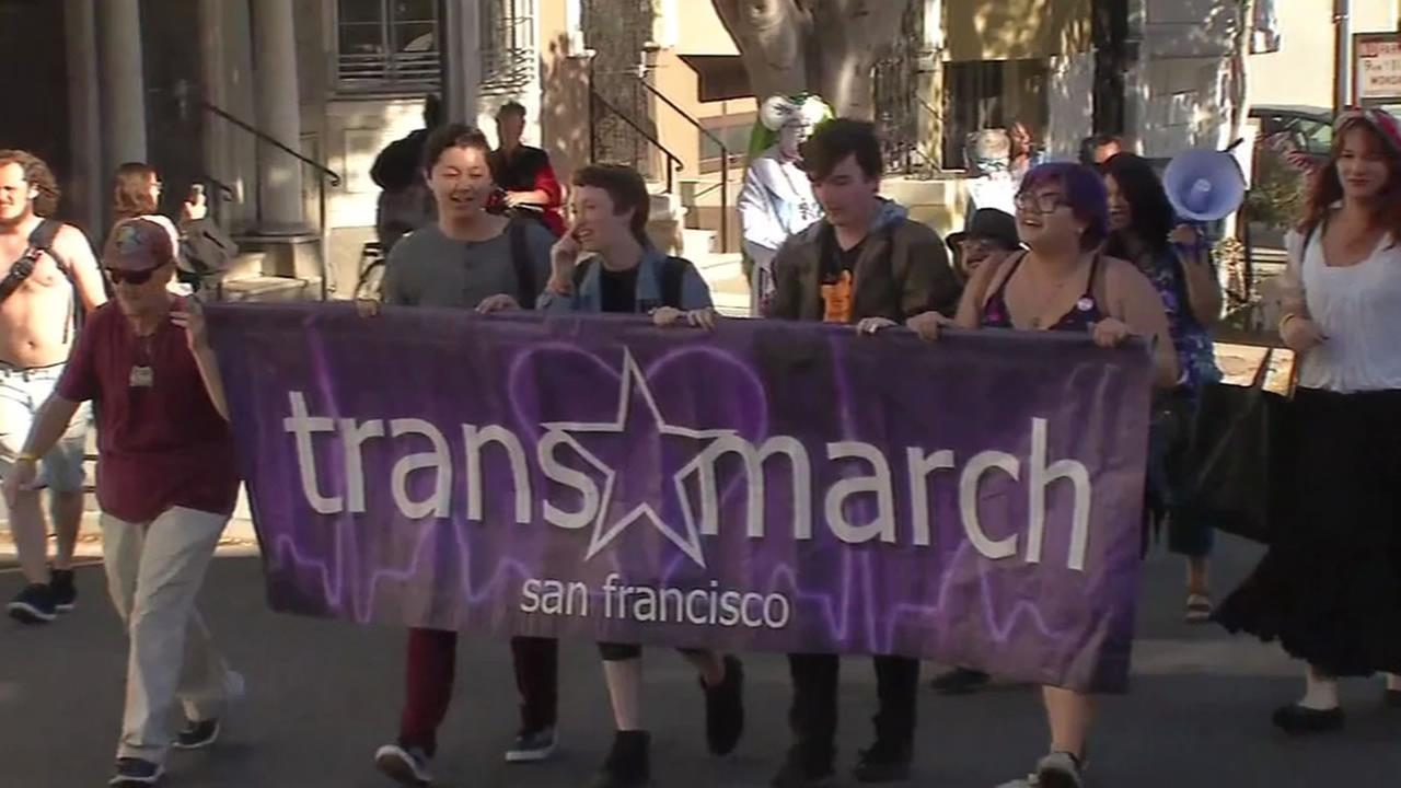 This image shows crowds marching in the Trans March in San Francisco on June 24, 2016.