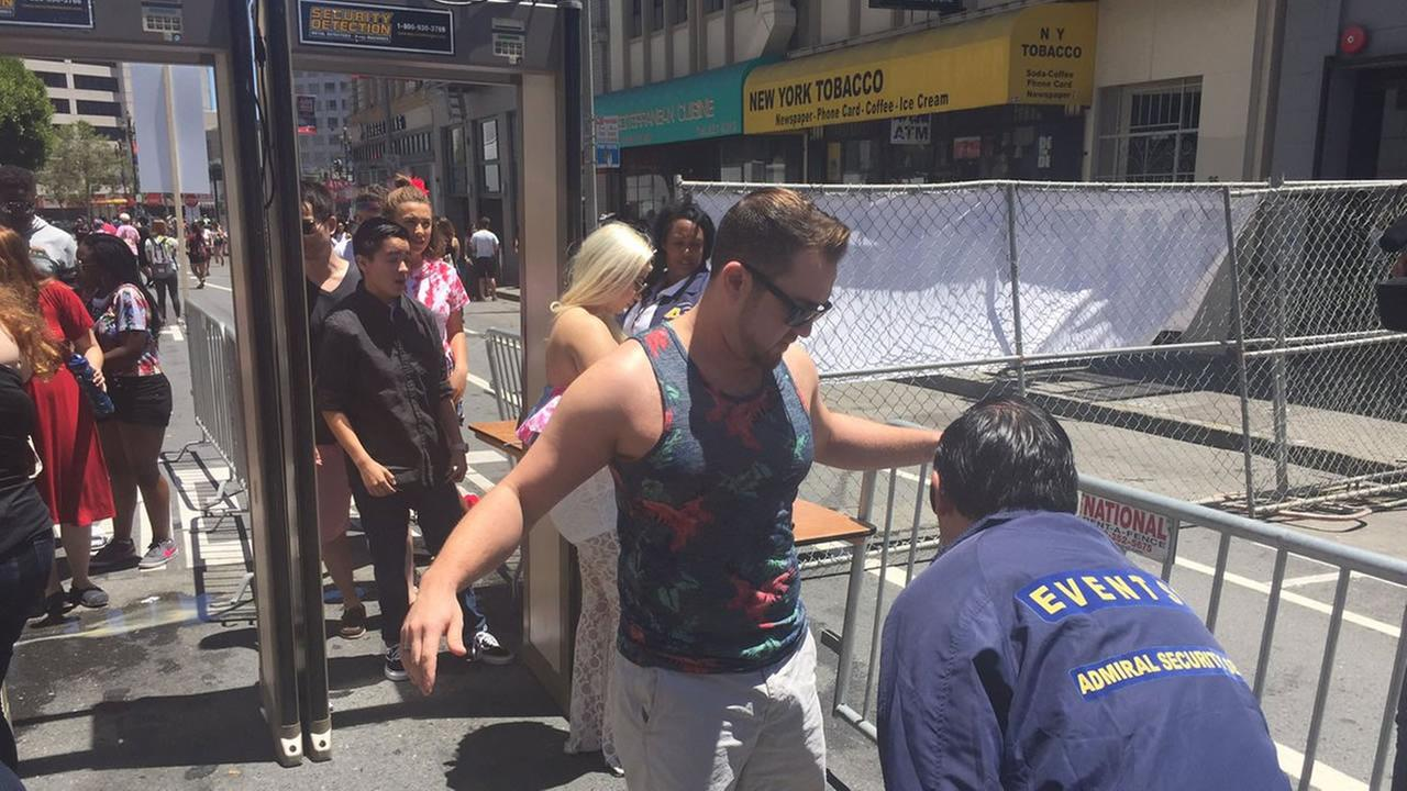 This image shows the extra security at this years LGBT Pride festivities in San Francisco on June 25, 2016.