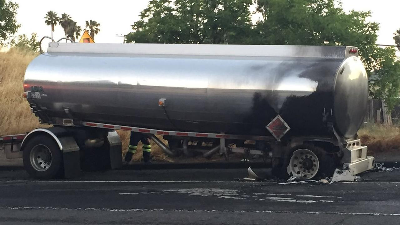 A tanker had a fiery crash on Highway 37 in Vallejo, Calif. on Monday, June 27, 2016.