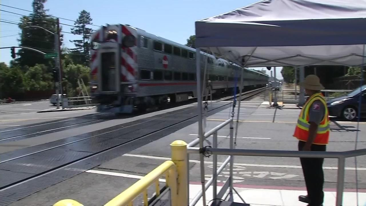 A Caltrain is seen moving through Palo Alto, Calif. in this undated image.