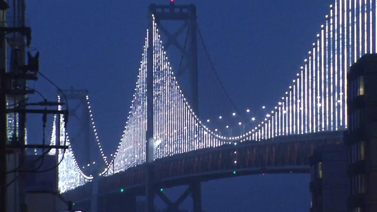 The Bay Bridge is lit up in San Francisco on Thursday, June 30, 2016.