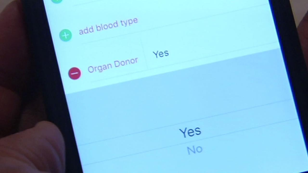 This image shows the new feature on Apples iOS 10 that will allow people to easily select if they want to be an organ donor.