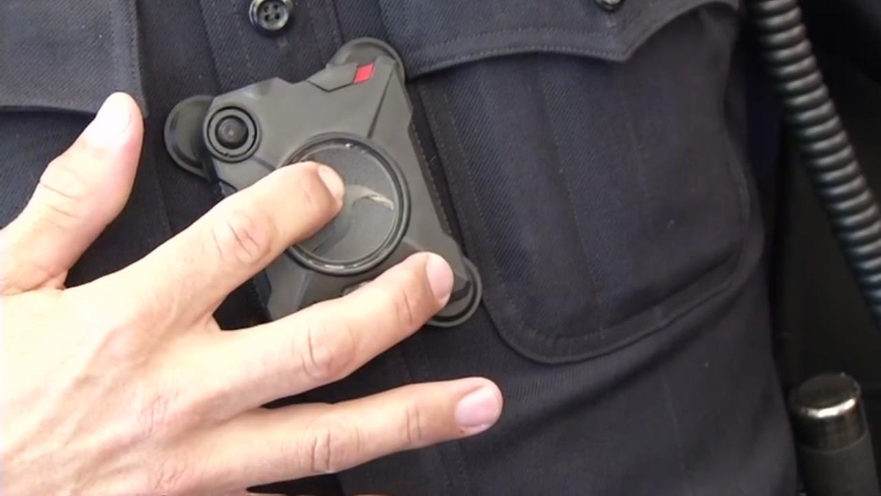A San Jose officer is seen wearing a body camera in this undated image.