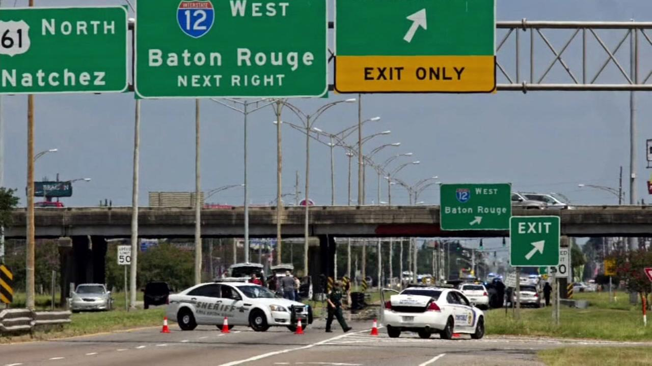 Police respond after officers were shot in Baton Rouge, Louisiana on Sunday, July 17, 2016.