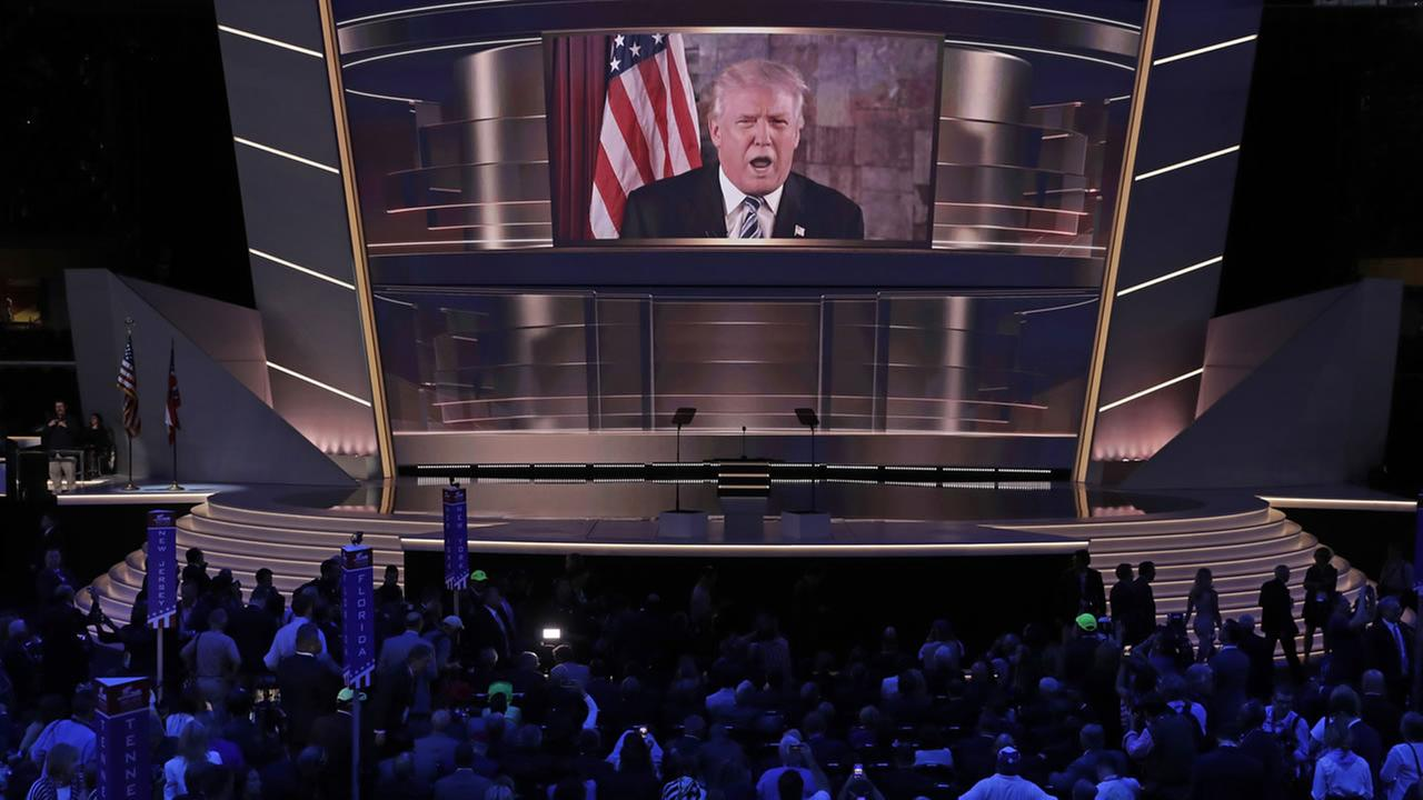 Republican Presidential Candidate Donald Trump, addresses the delegates by video during the second day of the Republican National Convention in Cleveland, Tuesday, July 19, 2016.