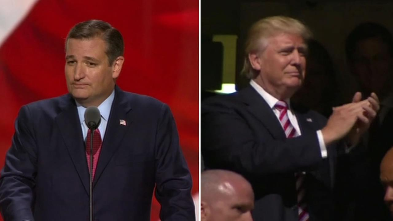 This splitscreen image shows Republican presidential nominee Donald Trump and Sen. Ted Cruz at the Republican National Convention on July 20, 2016.