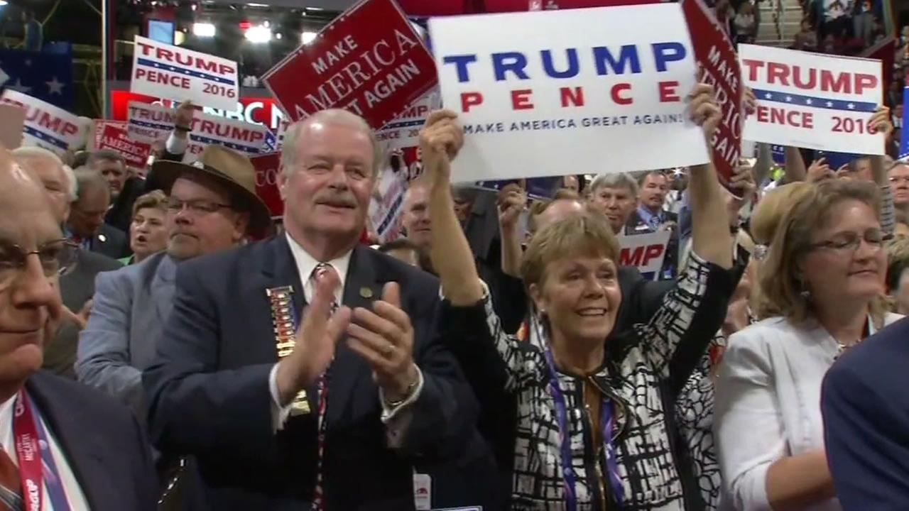 This image shows delegates at the Republican National Convention in Cleveland, Ohio on July 21, 2016.