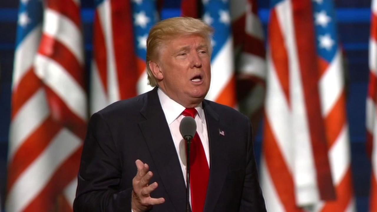This image shows Donald Trump giving his acceptance speech at the Republican National Convention in Cleveland on July 21, 2016.