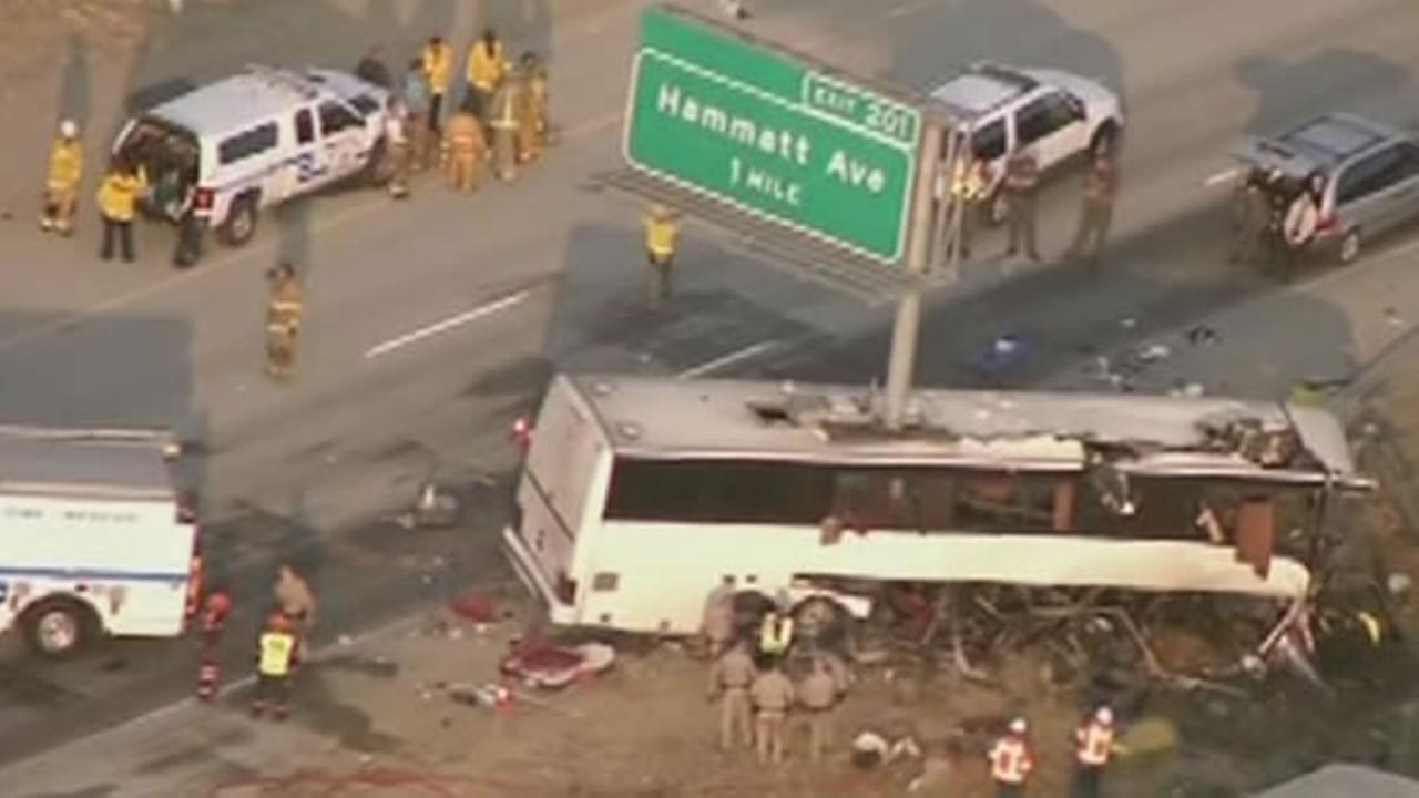A traffic sign pole sliced through a tour bus on Tuesday, August 2, 2016 in Merced County, Calif.
