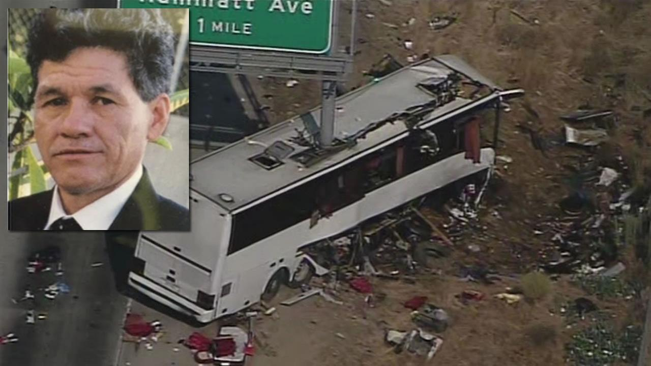This image shows bus driver Mario Vasquez who was driving when a bus was nearly sliced in half after a bus crash in Livingston, Calif. on August 2, 2016.