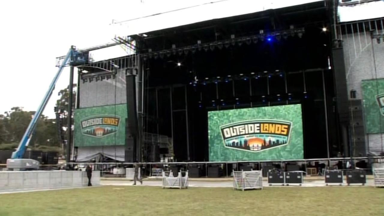 This image shows the set up of Outside Lands in Golden Gate Park in San Francisco on August 4, 2016.