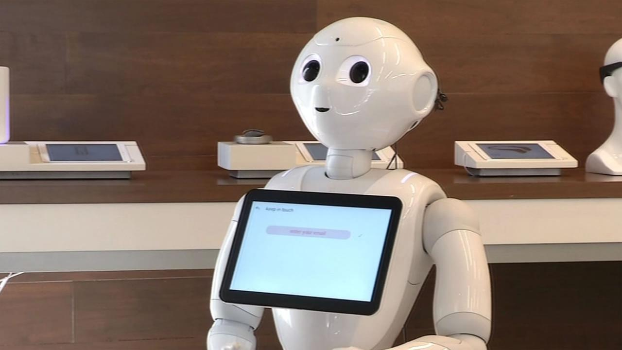 This image shows Pepper the robot at a Palo Alto, Calif. store on August 11, 2016. KGO-TV