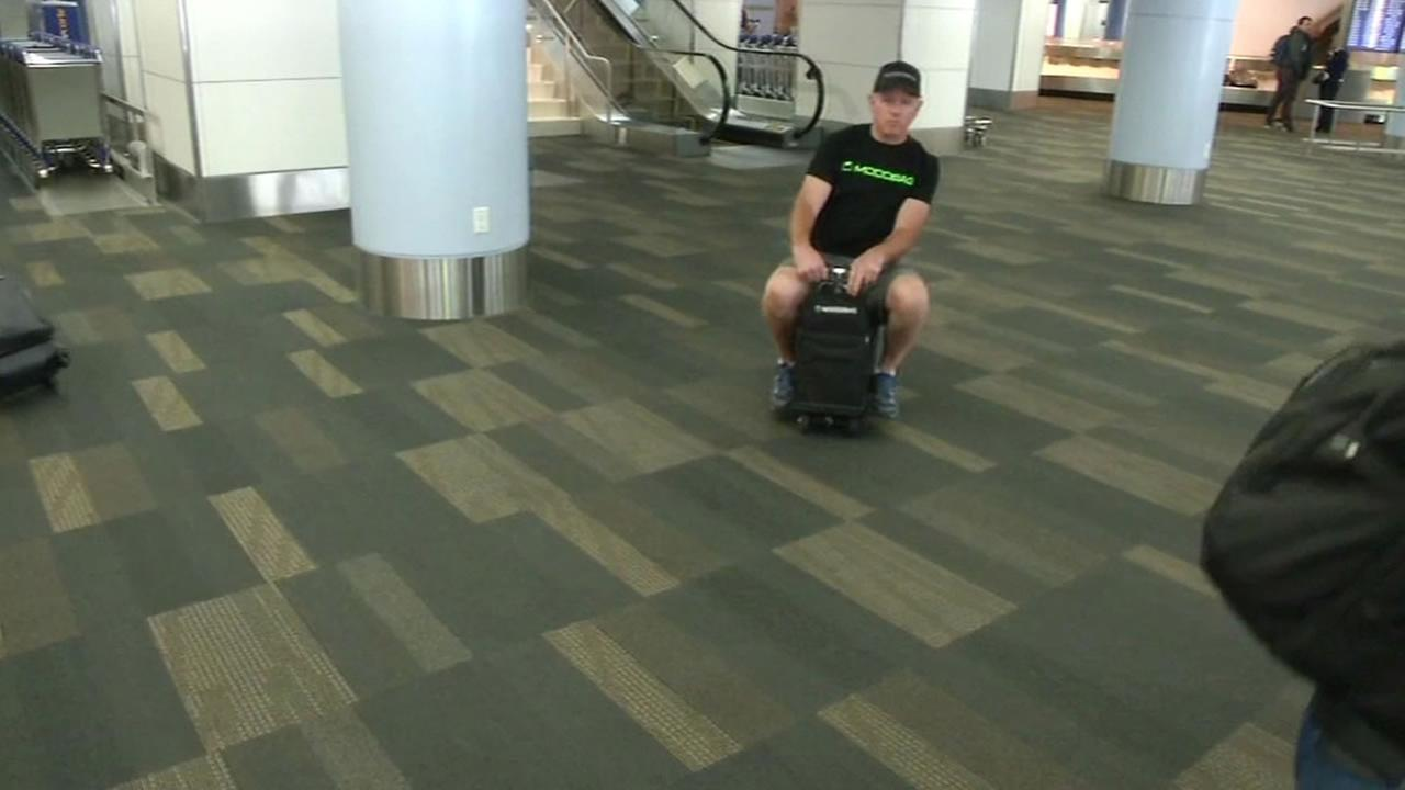 This image shows the Modobag in action at the San Francisco International Airport on August 12, 2016.