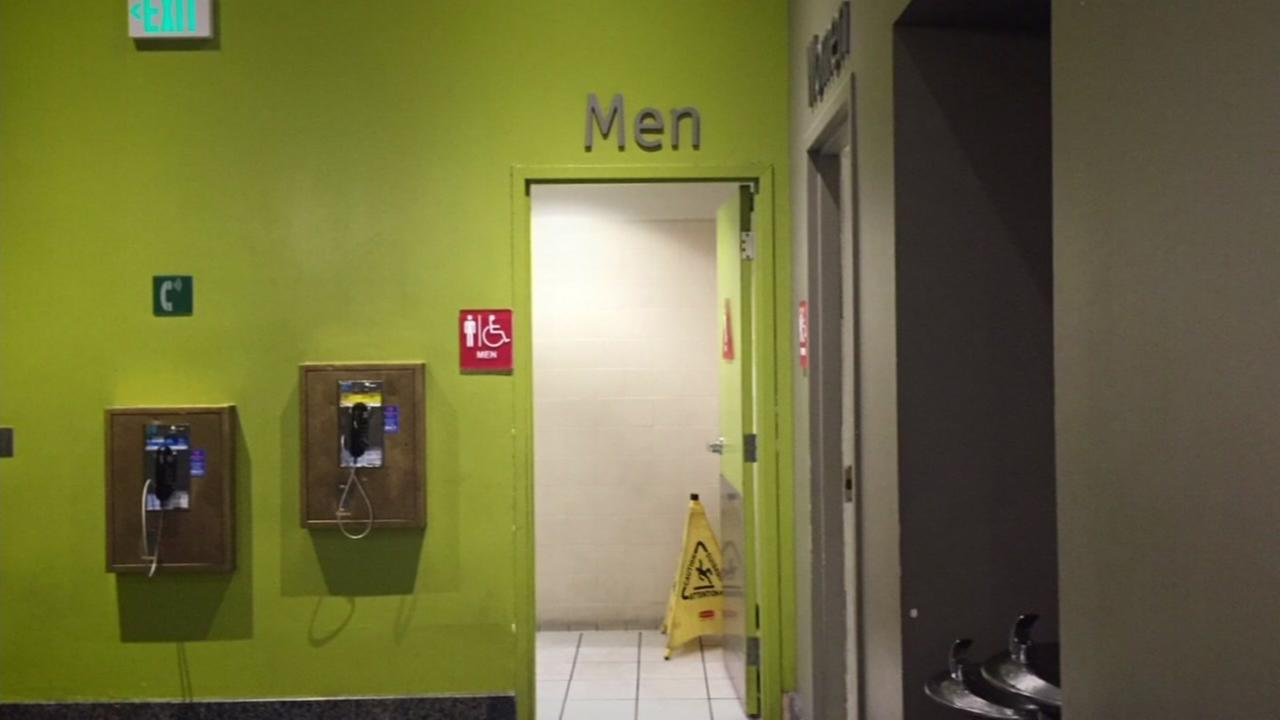 The mens bathroom inside the Westfield Centre in San Francisco, Calif. is seen in this undated image.