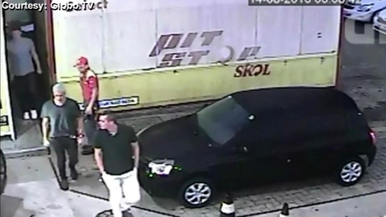 Surveillance video from Brazils Globo TV shows Olympic swimmers at a gas station in Rio, Brazil on Sunday, August 14, 2016.