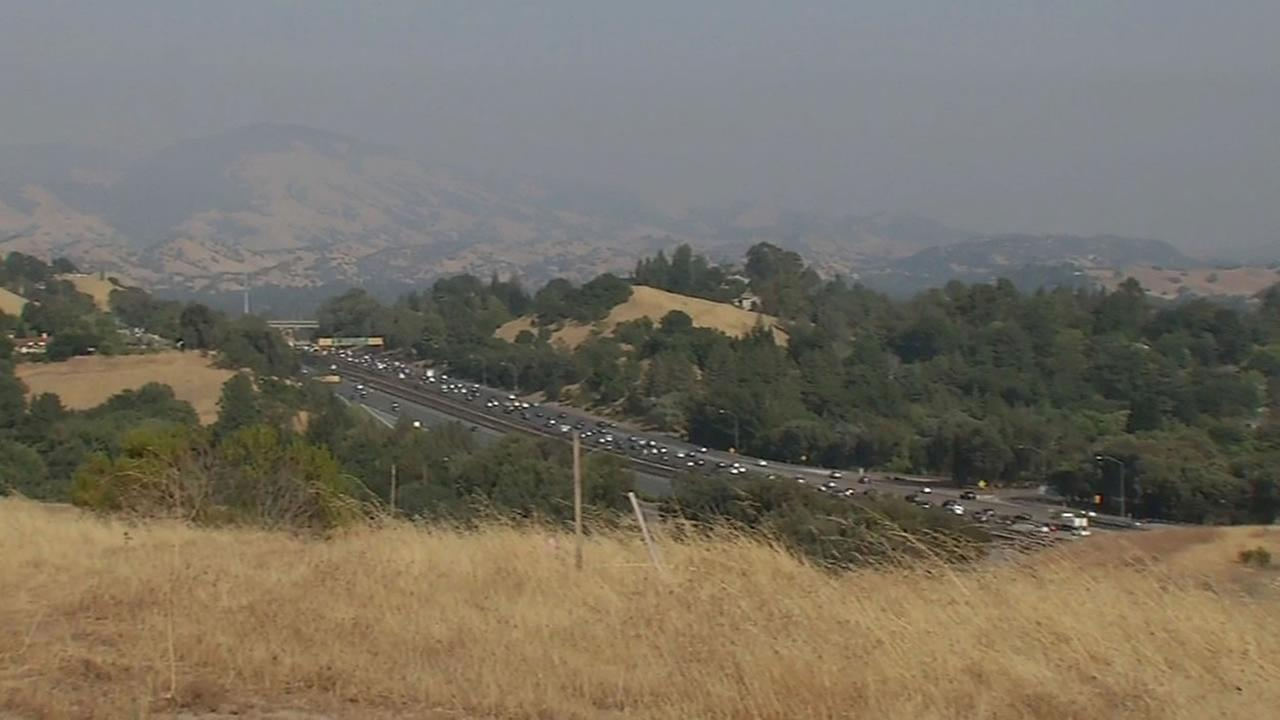 This image shows a view of the hazy hills in the East Bay on August 19, 2016.
