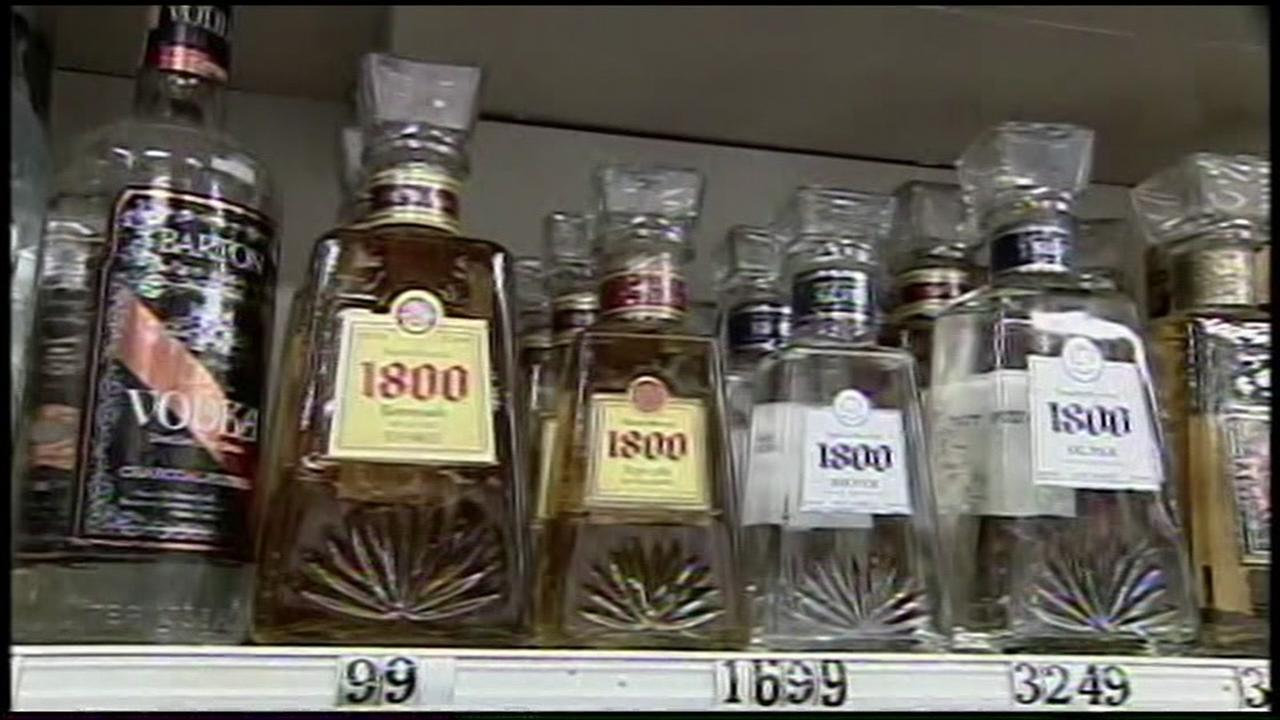 Alcohol lines store shelves in this undated photo.