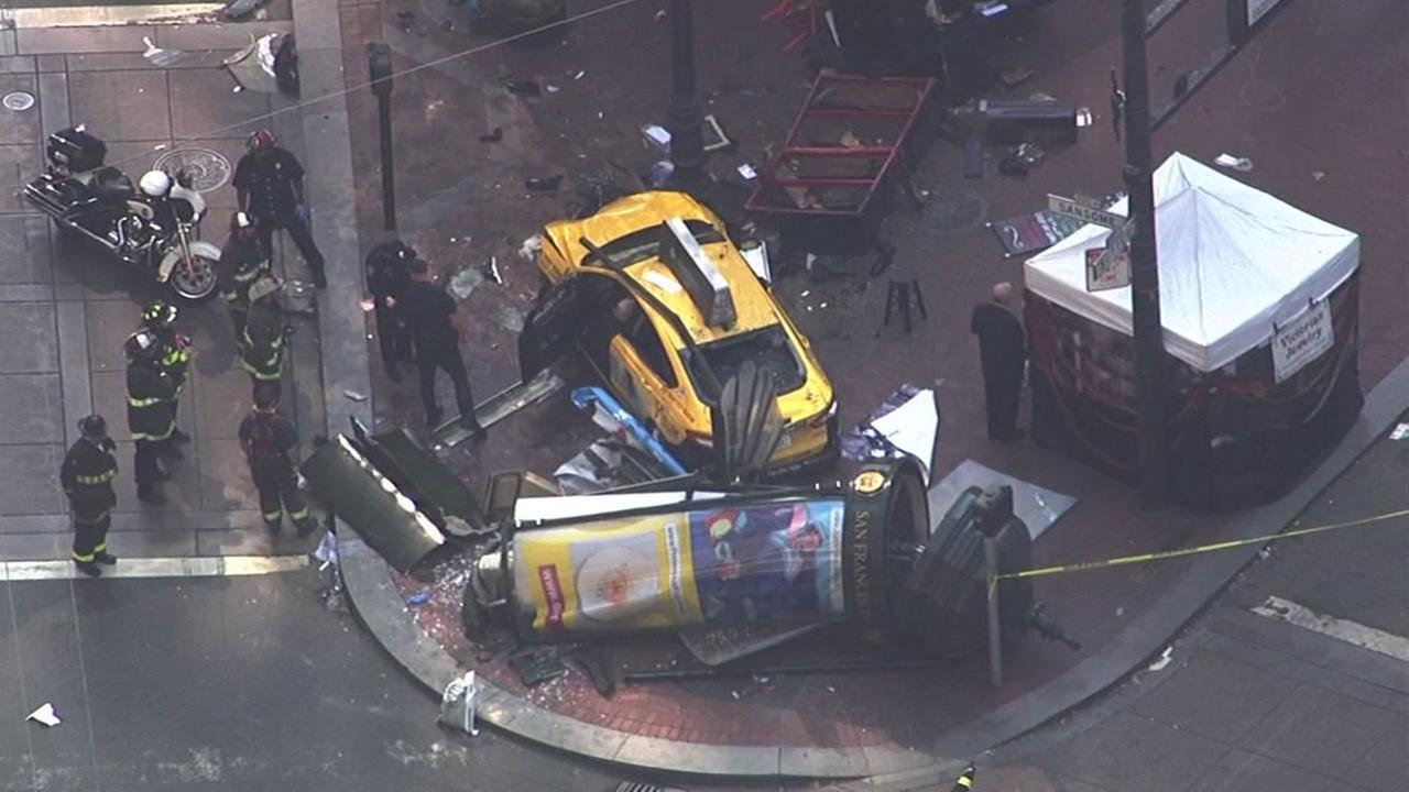 This image shows a taxi cab that crashed into a shoeshine stand in San Francisco, Calif. on August 23, 2016.