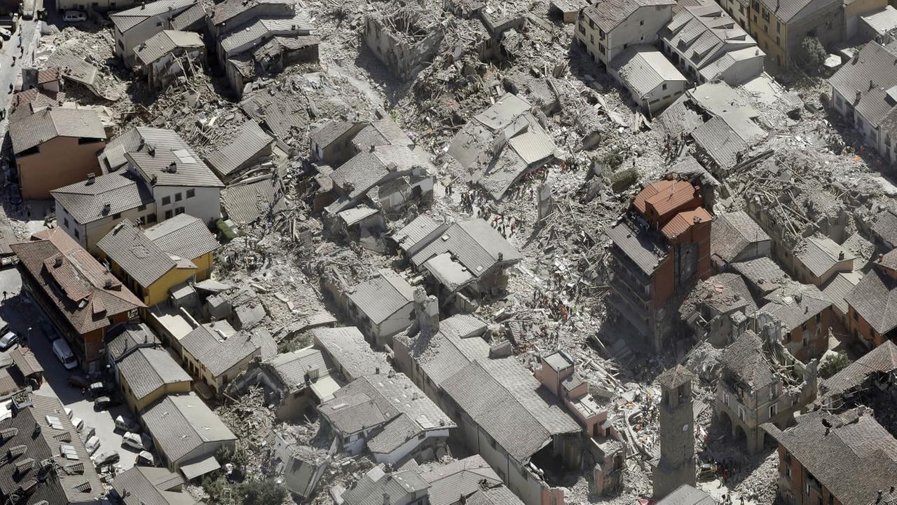 Aerial view of Amatrice in central Italy, Wednesday, Aug. 24, 2016, as it appears after a magnitude 6 quake struck at 3:36 a.m.