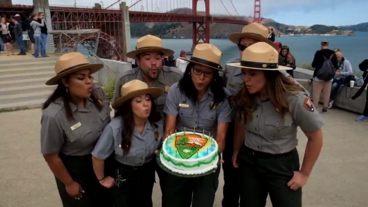 National Park employees celebrated with the 100th birthday of the National Park Service with a birthday cake at the Golden Gate Bridge on August 25, 2016.