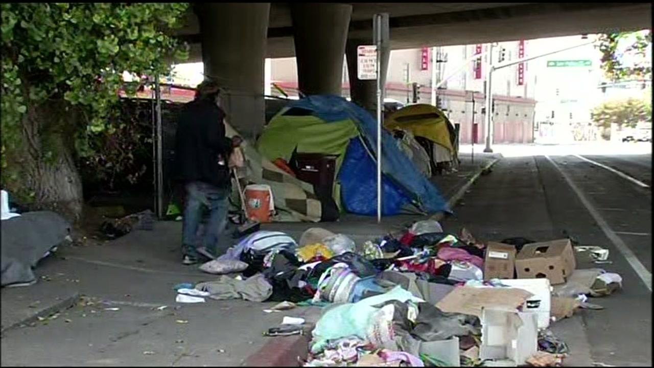 This image shows a homeless encampment in Oakland, Calif. near the VA Health Center on August 26, 2016.