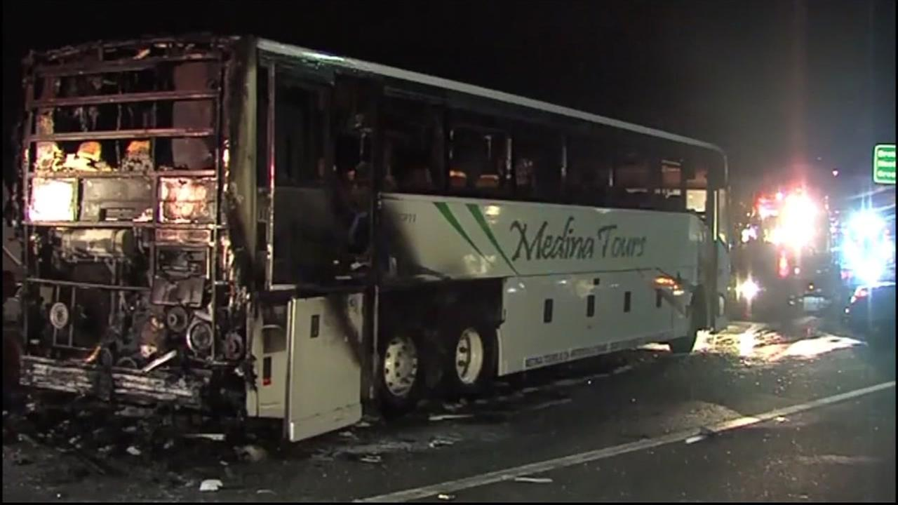 A Medina Tours and Charters bus is seen after it caught on fire in San Jose, Calif. on Tuesday, August 30, 2016.