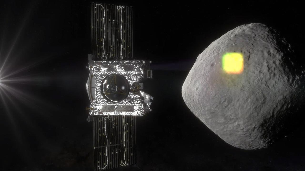 This artists rendering made available by NASA in July 2016 shows mapping of the near-Earth asteroid Bennu by the OSIRIS-REx spacecraft. (NASA/Goddard/University of Arizona via AP)