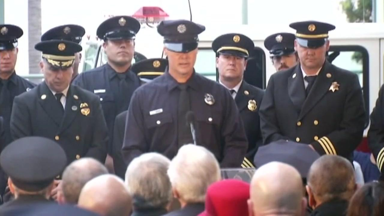 First responders are seen during a ceremony honoring the victims killed during the 9/11 attacks in San Francisco, Calif. on Sunday, September 11, 2016.