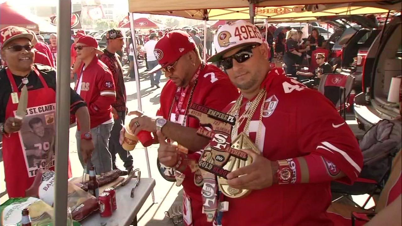 San Francisco 49ers fans are seen in the parking lot of Levis Stadium in Santa Clara, Calif. on Monday, September 12, 2016.