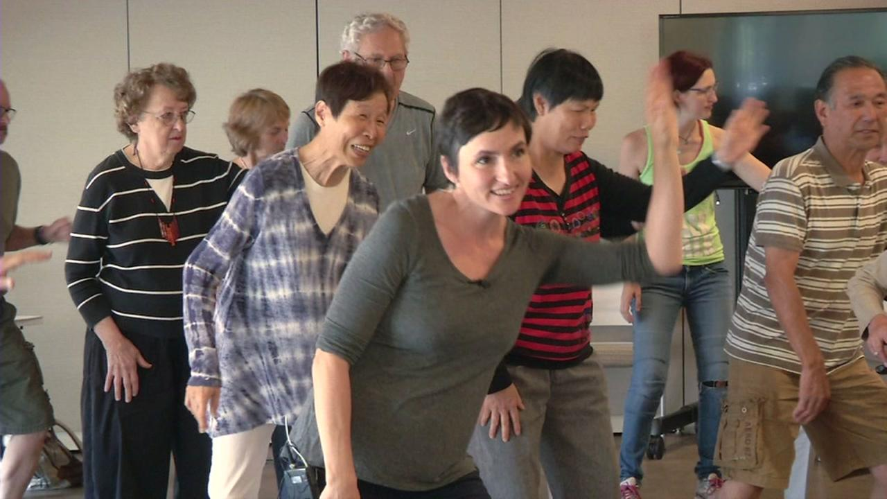 Patients with Parkinsons Disease dance in a brand new dance studio at Stanfords Neuroscience Health Center on Wednesday, September 14, 2016.